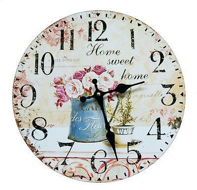 Vintage Wanduhr Analog Küchenuhr Home Sweet Shabby Wohnzimmer Blumen Nostalgie (Uhr Vintage Wand)
