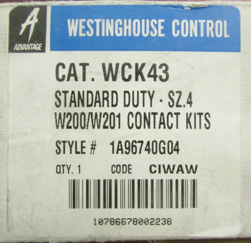 CUTLER HAMMER WESTINGHOUSE WCK43 Advantage W200 Size 4 Contact Kit 1A96740G04