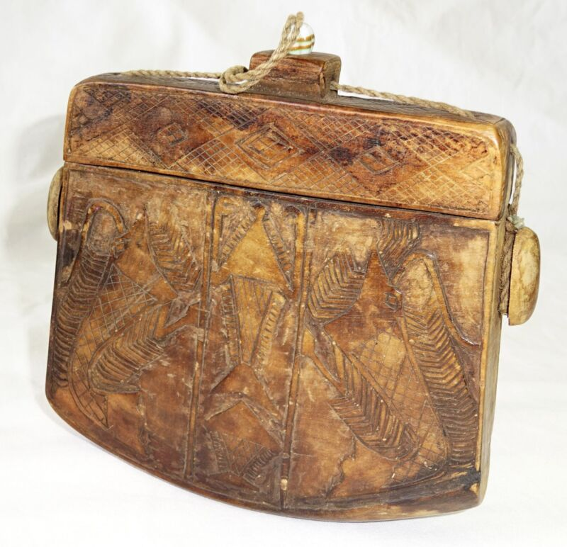 19CT Indonesian Sumba Tribe Wooden Ceremonial Container w Ancestral Motifs (Eic)