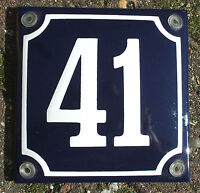 French Enamel House Number Sign. White No.41 On A Blue Background 10x10cm. - classic enamels - ebay.co.uk