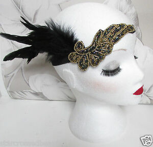 Flapper 1920s Real Feather Headband Head Piece Great Gatsby Charleston Gold h58