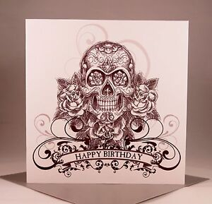 skull birthday card  ebay, Birthday card