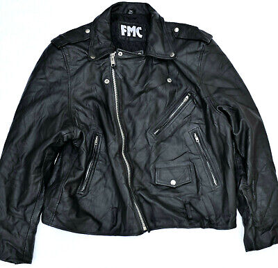 FMC Black Leather Jacket Coat Motorcycle Riding Biker Sz 50 Heavy Duty Nice ! for sale  Shipping to India