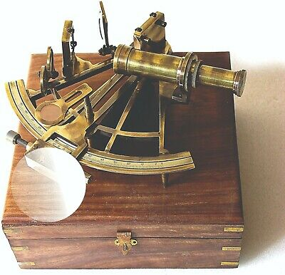 Antique Nautical Sextant Brass Astrolabe German Marine Sextant With Wooden Box
