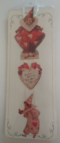 OLD PRINT FACTORY Wall Hanging Decor GIFTS Cutouts Clowns HEART VALENTINE