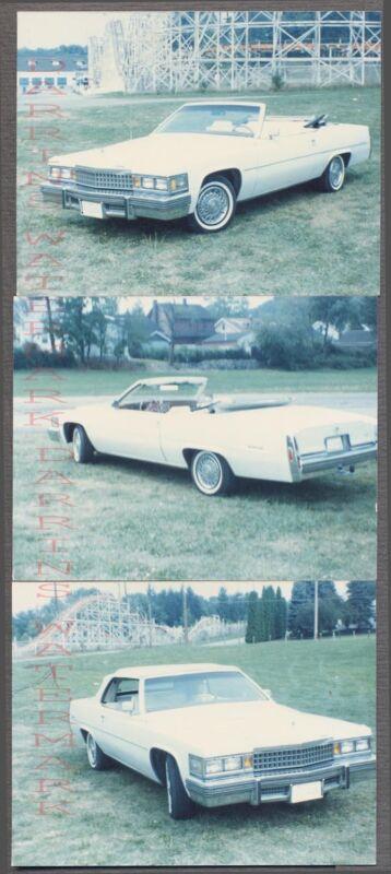 Lot of 3 Vintage Car Photos 1978 Cadillac Custom Convertible 728124