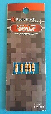 Radioshack 33 Ohm 12 Watt Carbon-film Resistors 5 Pk. 2711104 Free Shipping