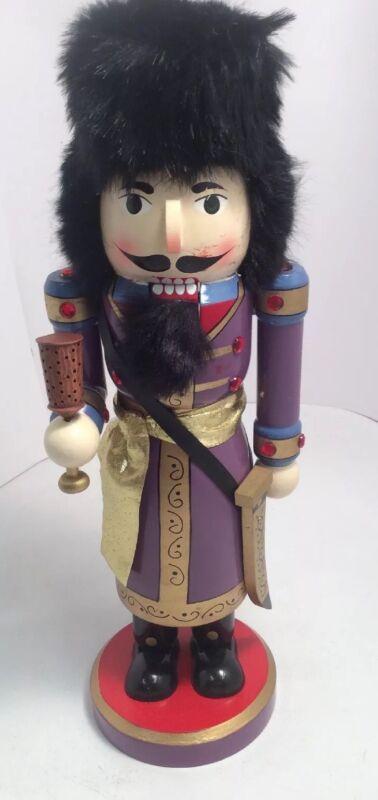 "Wooden Christmas Nutcracker Wise Man With Sword Gems 14"" Tall AllHollidays.com"