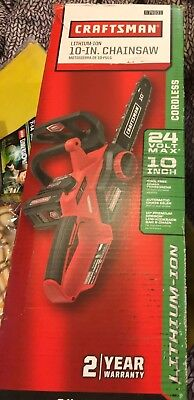 """Craftsman 24V Max 10"""" Cordless Chainsaw, Lithium-Ion Battery Electric Wood Saw"""