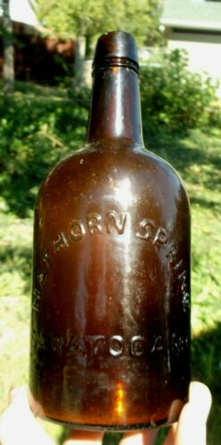 AMBER QUART HATHORN SPRING SARATOGA,NY MINERAL WATER BOTTLE 1870S APPLIED LIP