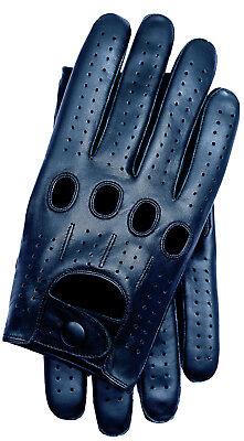 Riparo Men's Genuine Leather Full-finger Driving Gloves - Black Black Full Finger Leather Gloves