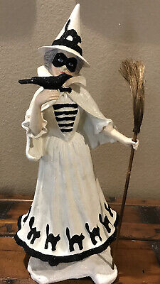Bethany Lowe Halloween The Good Witch w/Raven & Glitter Black Cats Skirt—Retired