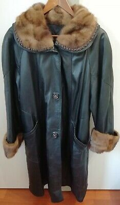Cappotto lungo Giaccone Vintage Donna Vera Pelle Taglia 42 con pelliccia