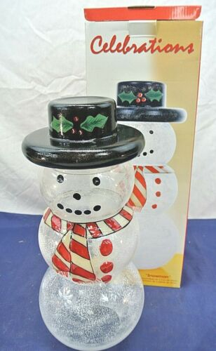 """CELEBRATIONS """"SNOWMAN"""", 4 PC. STACKING CANDY JAR, 15"""""""
