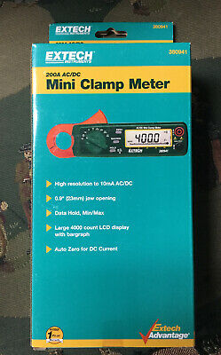 New Sealed Extech 200a Acdc Mini Clamp Meter 380941