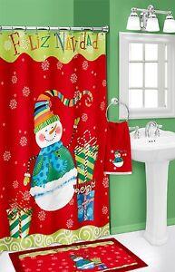 snowman bath set fabric shower curtain rug towel red christmas bath