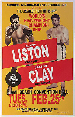 Replica Muhammad Ali Aka Cassius Clay Vs  Sonny Liston Boxing Fight Poster
