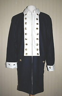Revolutionary War Colonial Army Frock Blue w/White Facings - Size 40 Top Quality