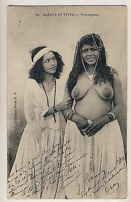 N Africa BUSTY ARAB WOMAN & FRIEND MAURISCHE FRAUEN * Vintage 10s Ethnic Nude PC