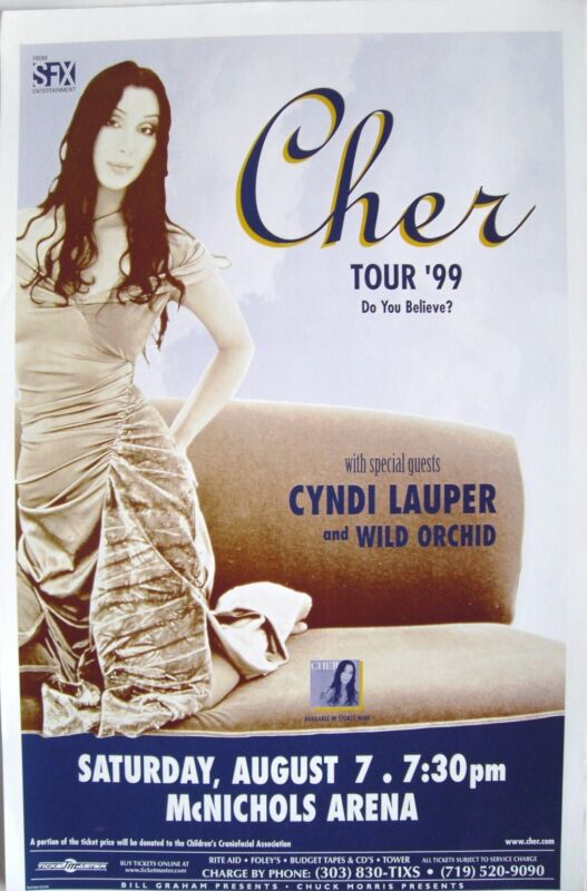 "CHER / CYNDI LAUPER ""TOUR 1999 - DO YOU BELIEVE?"" DENVER CONCERT POSTER-Pop Diva"