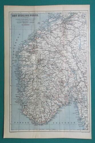 "NORWAY - 1885 Baedeker Map 10"" x 15"" (25 x 38 cm)"