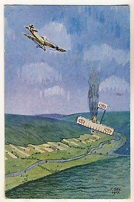 WW I LUFTANGRIFF ABSCHUSS / AIR ATTACK FIRING * Künstler-AK 1915 F SCHULZ-KÜHN