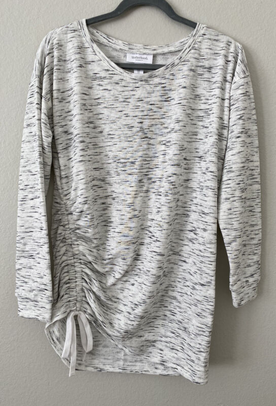 Motherhood Maternity Lighweight Gray Marled White Sweater Shirt Size Small NWOT