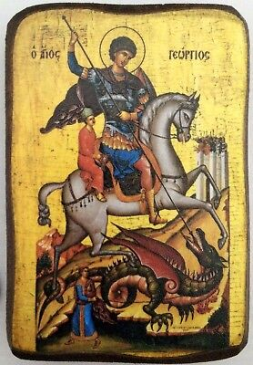 (Handmade Wooden Greek Christian Orthodox Wood Icon Of Saint George Georgios / A0)