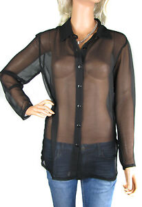 4 COLOURS - PLUS SIZES - LADIES SEE THROUGH CHIFFON LONG SLEEVE BLOUSE SHIRTS
