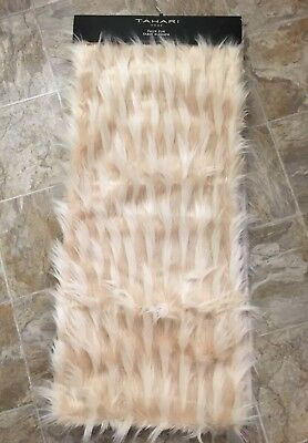 NEW Tahari Home Faux Fur Table Runner Blush Pink Shaggy 16