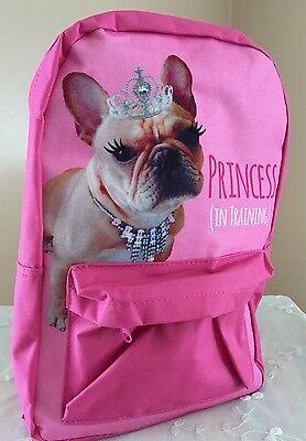 French Bulldog Princess in Training Pink Backpack Girls Tiara Small Dog Diva New