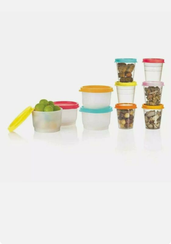 Tupperware Super Snack 10pc Set 4 Snack Cups 6 Tupper Minis Summer Colors NIP