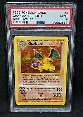 Shadowless Base Set Charizard Holo PSA 9 Mint 1999 Pokemon Card #4/102