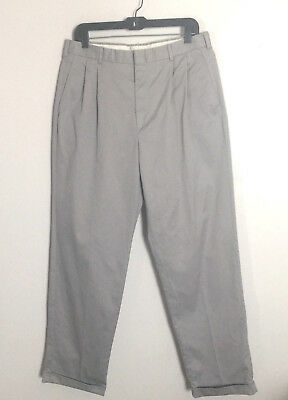 Lands End Khaki Casual Pants Slacks Size 34 Mens Pleated Straight Cuffed Gray