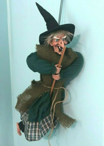"""Vintage Lucky Kitchen Witch Hanging 21"""" Handcrafted Riding Broom Fabric & Resin"""