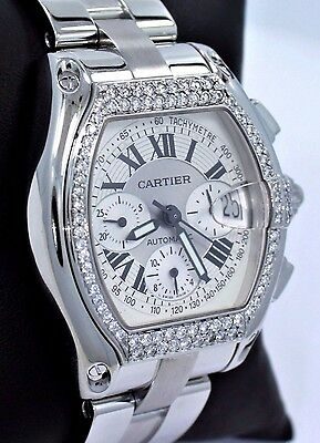 Cartier Roadster XL 2618 Chronograph Automatic 1.55CT Diamond Watch *MINT*