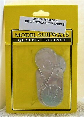 "Model Shipways Fittings MS 199. Deadeye/block Threaders 4 Per Pack. 1-3/4"" Long."