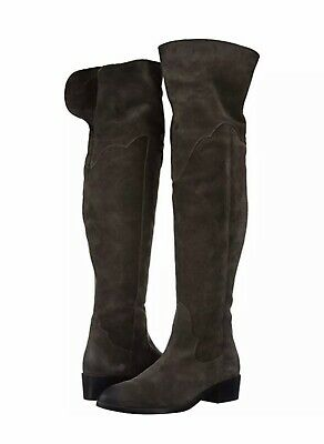 Frye Womens Ray OTK Over The Knee Boots Grigio Ultra Soft Suede/ Leather Sz.5.5