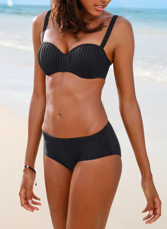 Bikini mit Bügel und plissierten Cups E Oberteil Badehose Bademode gefüttert NEU