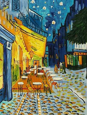 Van Gogh, Cafe, 12x16  Hand Painted Oil Painting, Reproduction on Canvas