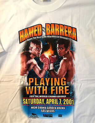 Men's New Boxing Fight Naseem Hamed vs. Marco Barrera T-Shirt White Large