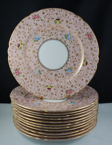 Very Rare Shelley 12609 Chintz Pansy Rose Forget-Me-Not Set of 12 Dessert Plates