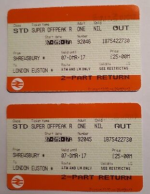 """NATIONAL RAIL """"OUT""""TICKETS FOR DEC 7 2017 TO LONDON EUSTON FROM SHREWSBURY"""