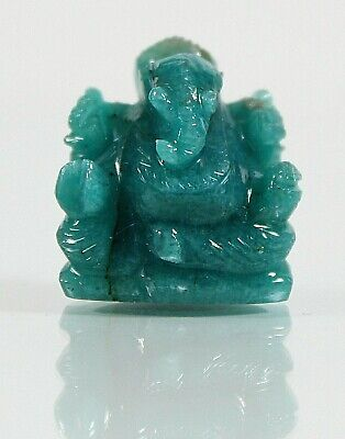 Ganesha, grüner Stein, H-2,1 cm, 7,2 gr. (ES15)