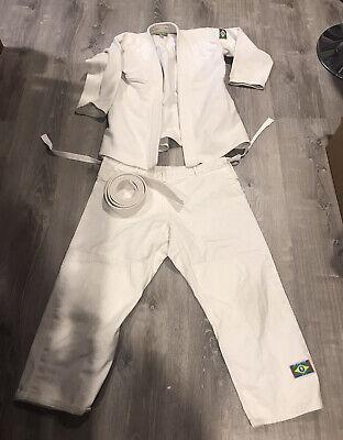 Heavyweight Judo Martial Arts Gi Uniform Top & Drawstring Pants & Belt Size 4
