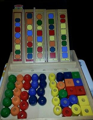 Melissa & Doug Bead Sequencing Set #570 Over 50 PC & 10 Patterns - Pre-Owned EUC (Melissa And Doug Bead Set)