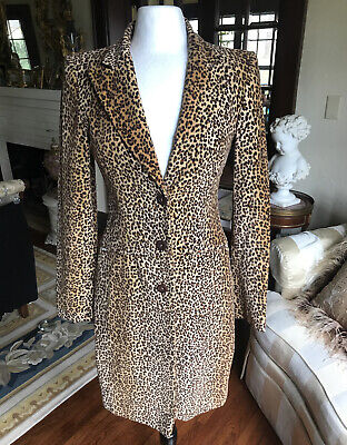 Vintage MOSCHINO JEANS Leopard Animal Print Fitted 100% Cotton Velvet Coat Sz 8