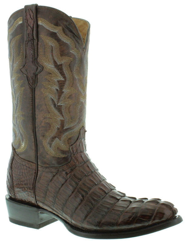 Mens, Brown, Genuine, Crocodile, Skin, Western, Leather, Cowboy, Boots, Tail, Cut, Round