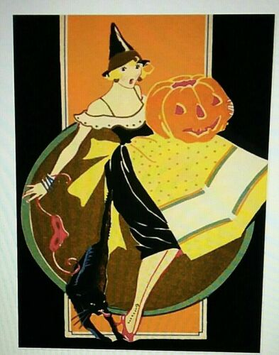*UNUSED* Halloween Postcard: Art Deco Witch, Blk Cat Vintage Image~Reproduction