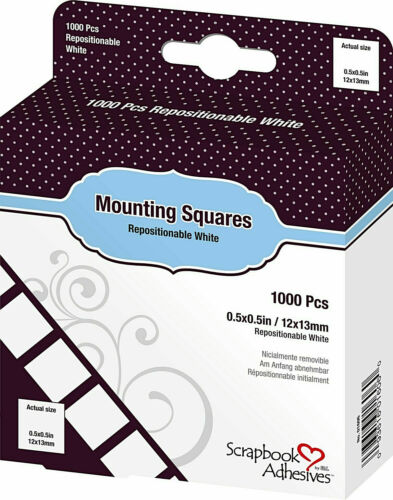 Scrapbook Adhesives by 3L Mounting Squares Repositionable White 1000/ct New!